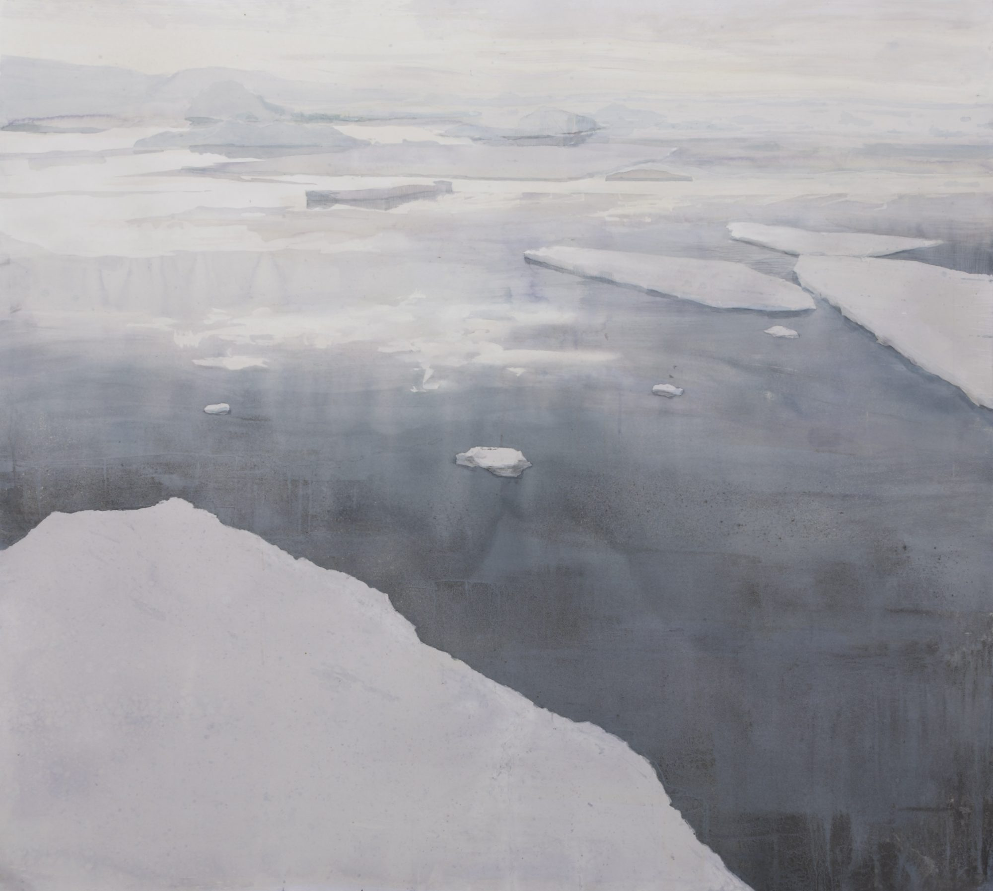 Sea Ice 152.8 x 167cms watercolour, graphite and aluminium powder 2014, courtesy of EMma Stibbon