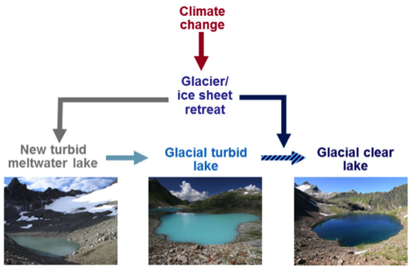 Figure of turbid glacial lakes transitioning to clear oligotrophic lakes.