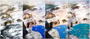 "Grinnell Mt. Gould Quadtych, 2009, 88"" x 200"" overall (Courtesy of Diane Burko)"