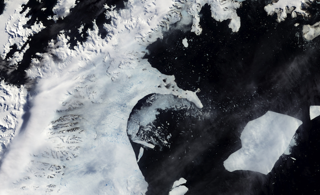 The Larsen B ice shelf began disintegrating around Jan. 31, 2002. NASA's MODerate Imaging Spectroradiometer (MODIS) captured this image on Feb. 17, 2002. Credit: MODIS, NASA's Earth Observatory