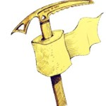 An image of an ice ax with a roll of toilet paper around the handle
