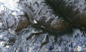 Upper drainage of Mochu, showing glacier lakes. (Source: Google Earth)