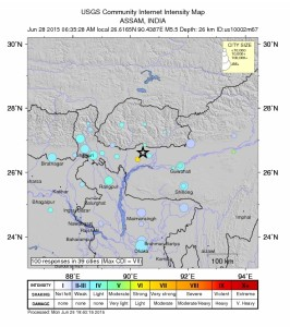 Map of 27 June earthquake, courtesy of the USGS