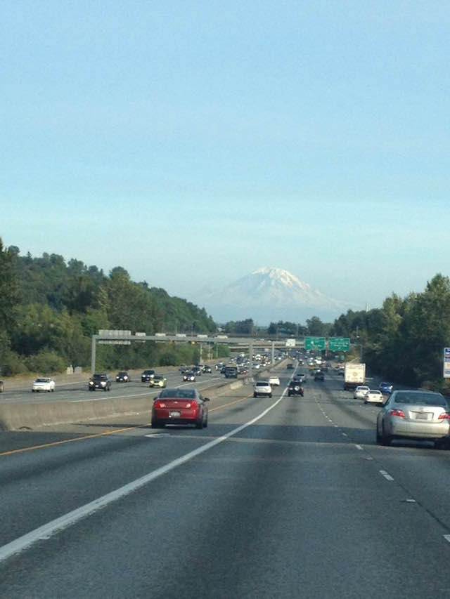 Rainier looms over the freeway in Seattle. Credit: Allyza Lustig