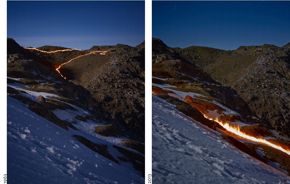 fire lines the ice contours in 1963 and 2013 to illustrate glacier retreat. Credit: Simon Norfolk, Project Pressure