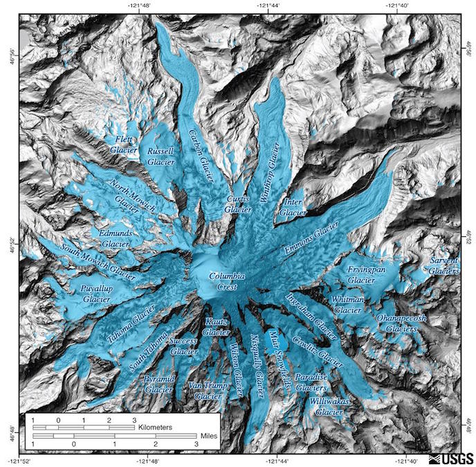 Glaciers of Mount Rainier overlaid on a base map LIDAR image, which shows the topography of the volcano. Image created by United States Geologic Survey (USGS), in 2012.