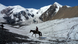 Kyrgyz Horse walking on the ice of the Glacier, Lenin Peak climbing, Kyrgyzstan. (Courtesy of Twiga, Flickr)
