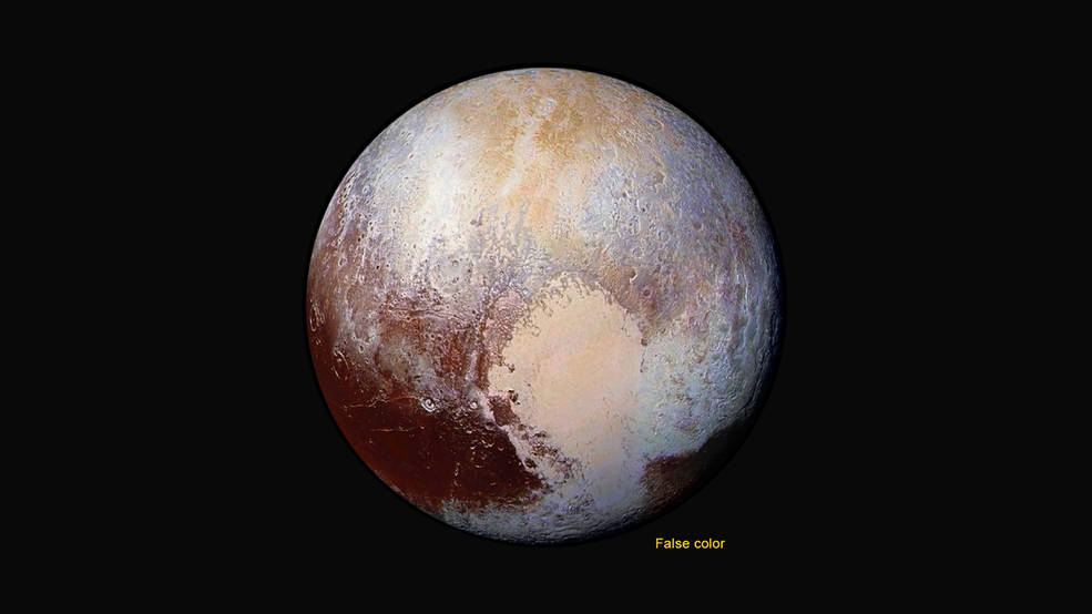 An enhanced color global view of Pluto.