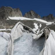 Blankets cover Swiss glacier