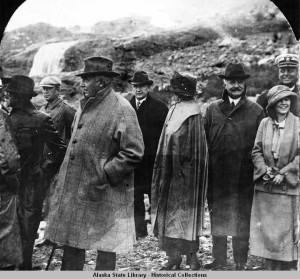 President and Mrs. Harding at Mendenhall Glacier, Alaska. Courtesy of Alaska State Library.