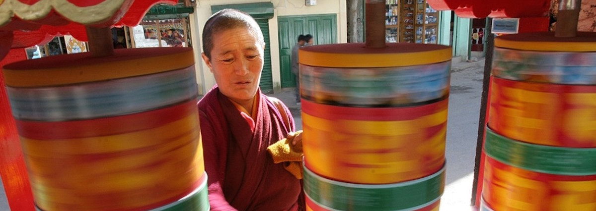 A Monpa monk spins prayer wheels at Tawang monastery, Arunachal Pradesh. Photo courtesy of Anupam Nath/AP