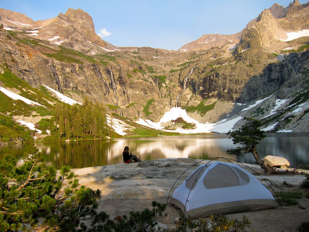 Hiker and tent at Hamilton Lake on High Sierra Trail, courtesy of Miguel Vieria/Flickr