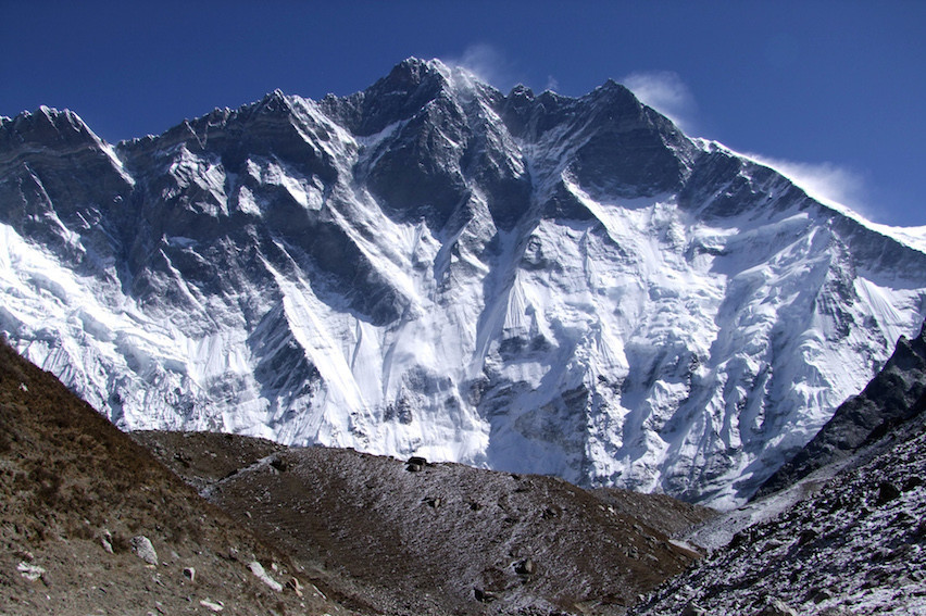 The South Face of Lhotse from Imja Tsho in Nepal.