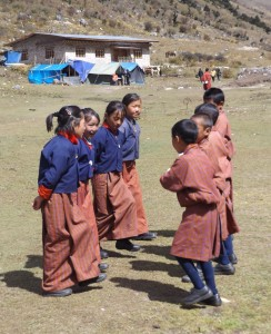 Students from village school performing a dance (source: Ben Orlove)