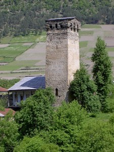 A tower constructed in the European Dark Ages in the northwestern province of Svanetia. Source: Wikipedia
