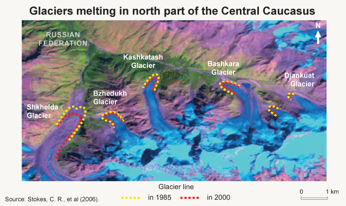 A map showing the retreat of several glaciers in the northern part of the Central Caucasus between 1971 and 2009. Courtesy of the Zoi Environment Network/Flickr.