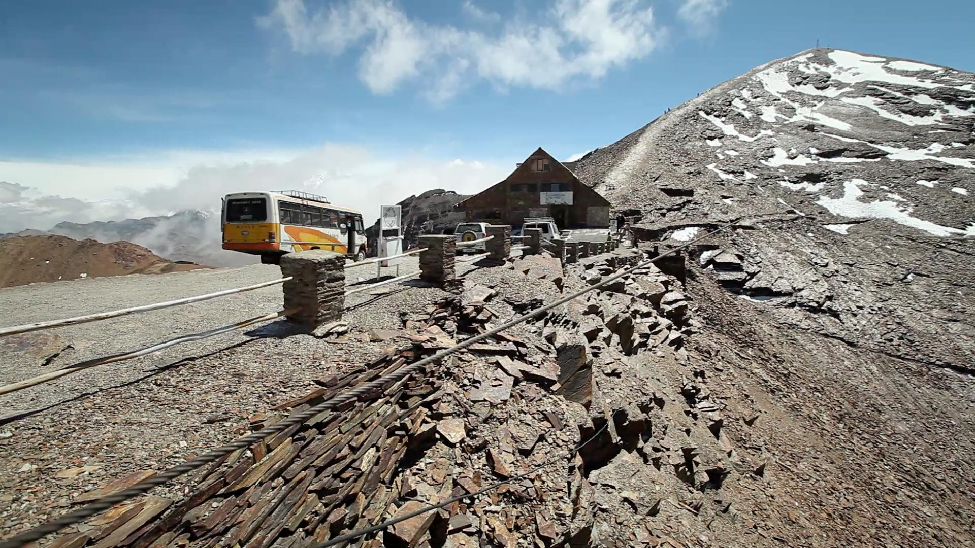 The former ski resort at Chacaltaya mountain, outside of La Paz. The glacier has melted away, 2012. Video Still: Stephan Bachenheimer / World Bank.