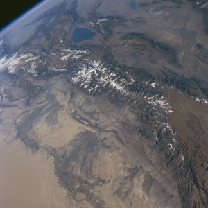 Satellite image of Tien Shan mountain range