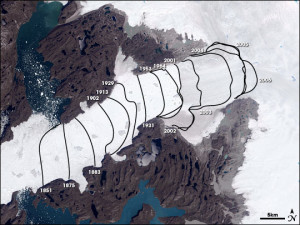 Jakobshavn Isbræ ice loss and retreat
