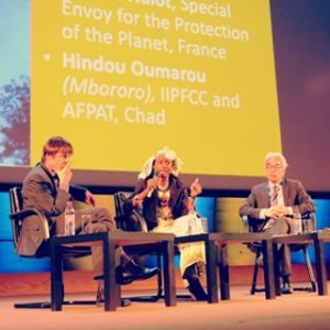 Nicolas Hulot, Hindou Oumarou and Douglas Nakashima at UNESCO conference (source: UNESCO)