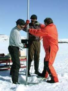Finnish geoscientists taking a core sample to reconstruct glacial history sourcecredit A. OJala