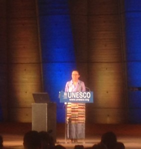Tsechu Dolma speaking at UNESCO conference (source: Ben Orlove)