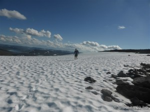 Hiker on snowfield at Halti (credit: Kent-Hugo Norheim)