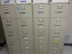 File cabinets containing historical photographs of glaciers (source: NSIDC)