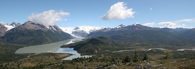 Glacier-fed watersheds such as this, fed by the Dickson Glacier in Torres del Paine National Park, Chile provide water for irrigation. Credit: John Spooner/Flickr.