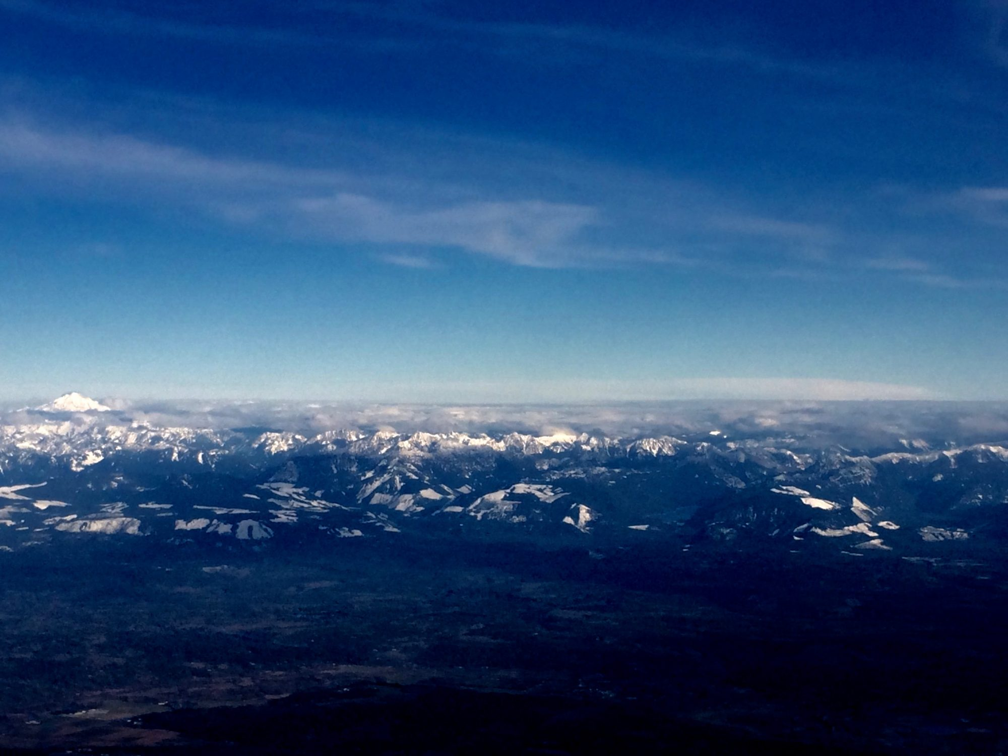 WA State Cascade Range and Mt. Baker from the air.
