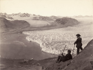 Muir Glacier photographed in 1893 by Frank LaRoche (standing) (source: NSIDC)