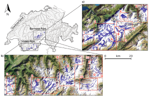 Overview of the study sites located in the (a) Bernese and (b) Valais Alps (Switzerland). Source: Geophysics)