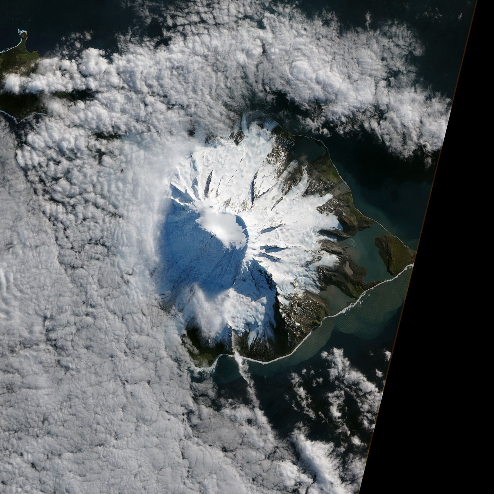 Satellite image of eruption
