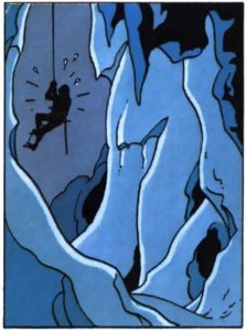 TinTin being rescued from a crevasse in the Himalayas, from Tintin in Tibet. Click here for the episode synopsis.