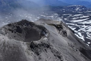 New crater near the summit at Chillán (source: SERNAGEOMIN)