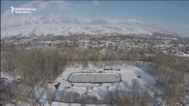 Hockey rink in Kyrgyzstan, screenshot from video in news article. (Photo: Video Screenshot/RFE/RL)
