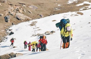 Tourists were going hiking on Tianshan Mountain glaciers