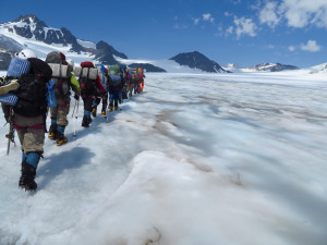 The girls of Girls on Ice ascending Gulkana Glacier (Photo :Alaska Climate Science Center)