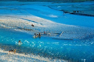 Local Kirgiz are building a simple bridge with roundwood on the tributary of the Tarim River, clear glacial melt water is the source of life. (source: Chinese National Geography, photo by George Steinmetz)