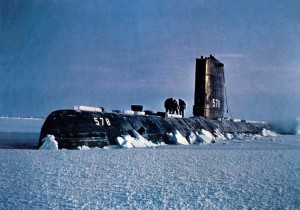 USS Skate surfacing in the Arctic in 1959. The authors argue that the military (especially during the Cold War) had a large role in creating present-day glaciology. (Photo: U.S. Navy/Wikimedia Commons)