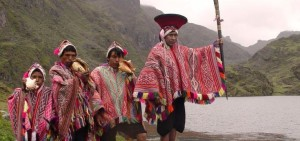 Villagers from Calca, Peru, with leader bearing a staff of office (source: Asociación Andes)
