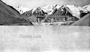 A photograph of the Chong Khumdan Glacier dam and lake, captured by Frank Ludlow three days before the 1929 GLOF. (source: The Himalayan Journal)