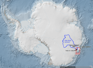 Totten Glacier catchment area in blue. (Source: Australian Antarctic Division)