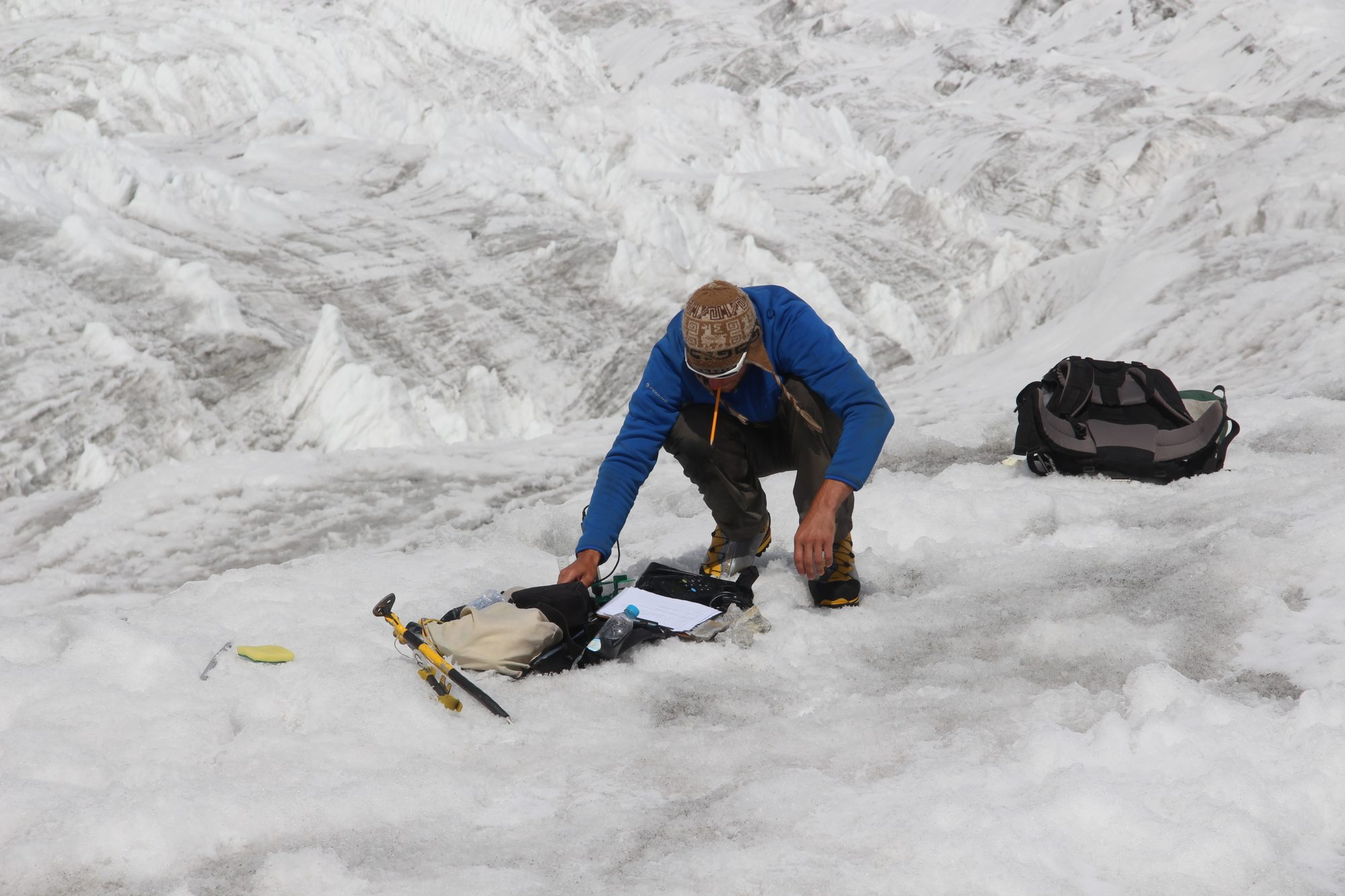 Checking instrumentation on Baltoro Glacier
