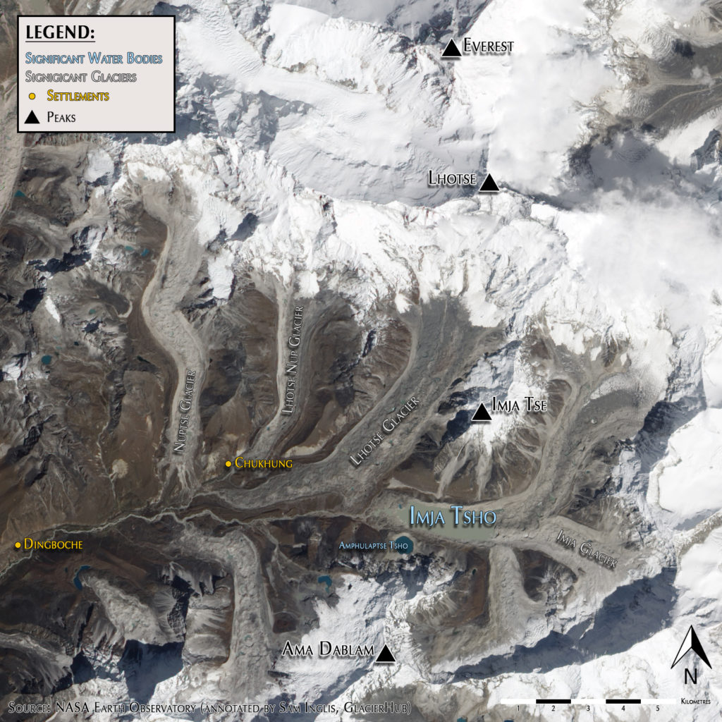 Imja Tsho and the surrounding Everest region (Source: NASA Earth Observatory, annotated)