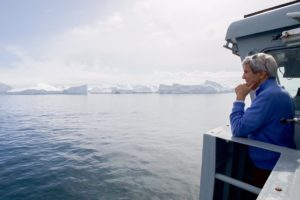 Secretary of State John Kerry inspecting icebergs calved from Jacobshavn Glacier, Ilulissat, Greenland, June 17, 2016. (Source: US Dept of State)