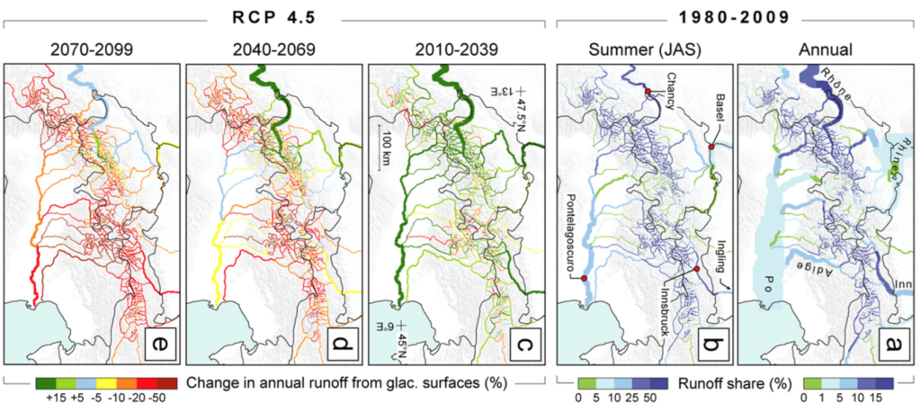 Past and future runoff contribution from presently glacierized surfaces (Source: Farinotti et al., 2015)