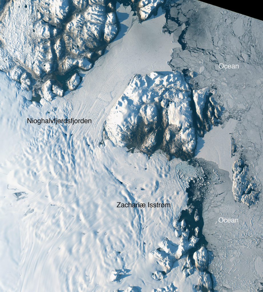 Landsat-8 image of Greenland's Zachariae Isstrom and Nioghalvfjerdsfjorden glaciers, acquired on Aug. 30, 2014. (NASA/USGS)