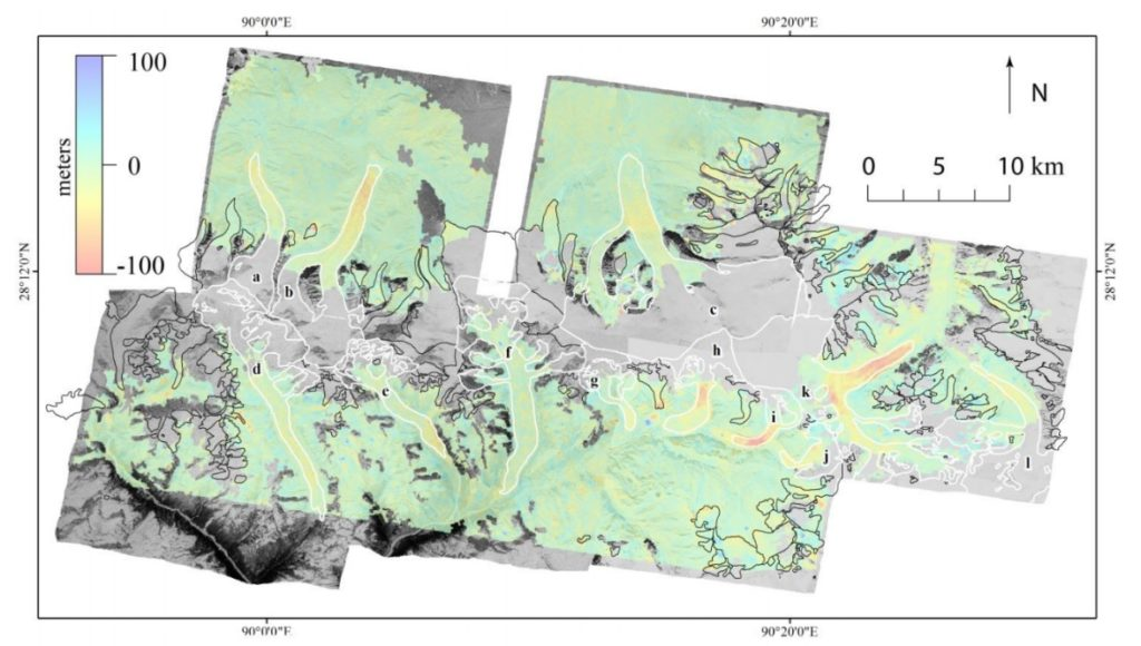 Maps showing elevation change between 1974 and 2006 on glaciers in Bhutan. White outlines denote glaciers used in the study. (source: The Cryosphere)