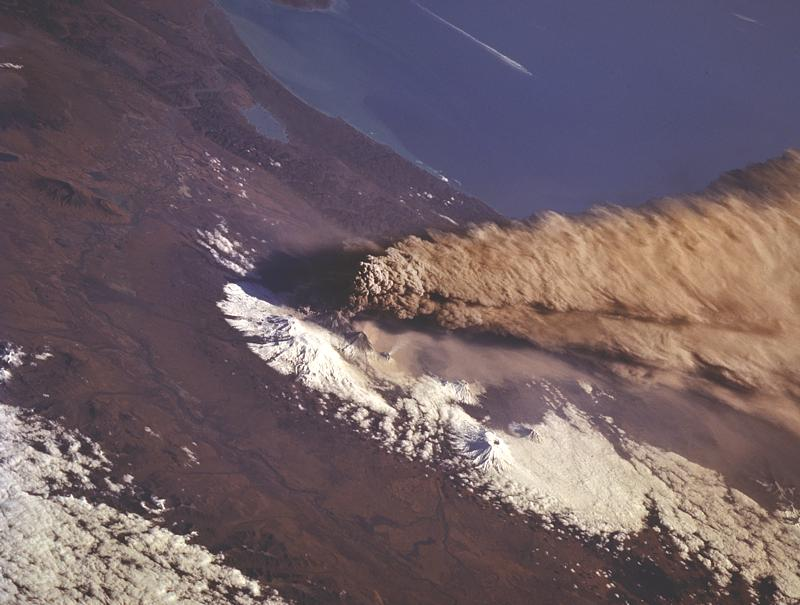 1994 eruption of the Klyuchevsky Volcano, taken by NASA